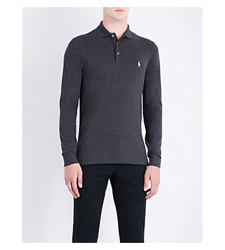POLO RALPH LAUREN Logo-embroidered stretch-cotton polo shirt (Windsor+heather