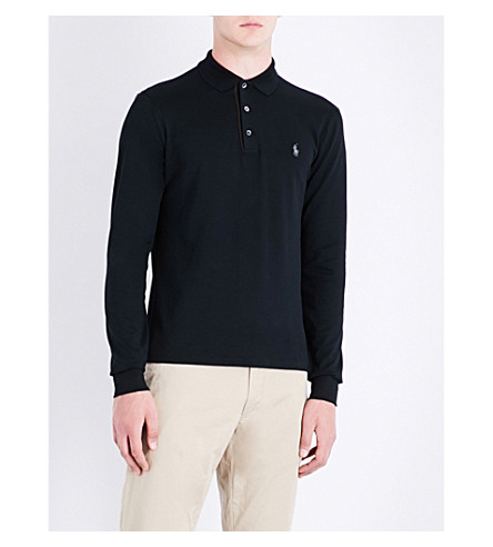 POLO RALPH LAUREN Logo-motif stretch-cotton-piqué polo shirt (Polo+black