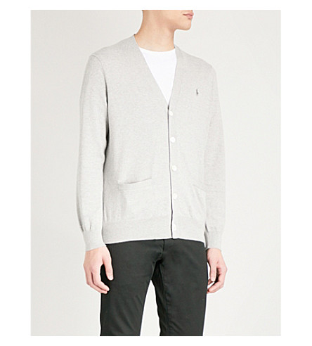 POLO RALPH LAUREN V-neck cotton cardigan (Andover+heather