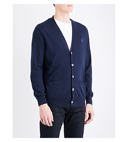 POLO RALPH LAUREN V-neck cotton-jersey cardigan (Hunter+navy