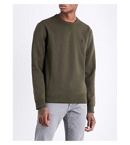 POLO RALPH LAUREN Logo-embroidered jersey sweatshirt (Company+olive/f