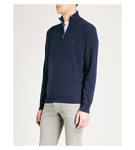 POLO RALPH LAUREN Logo-embroidered cashmere jumper (Hunter+navy