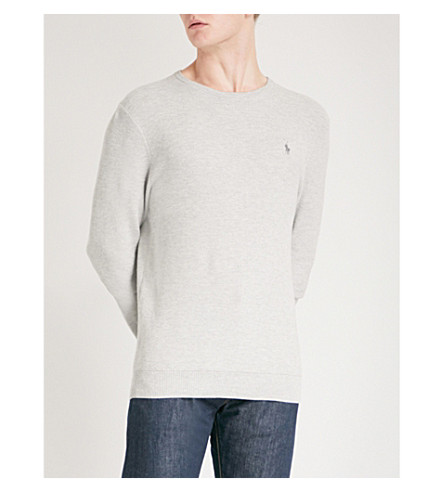 POLO RALPH LAUREN Crewneck cotton jumper (Cool+grey+heather