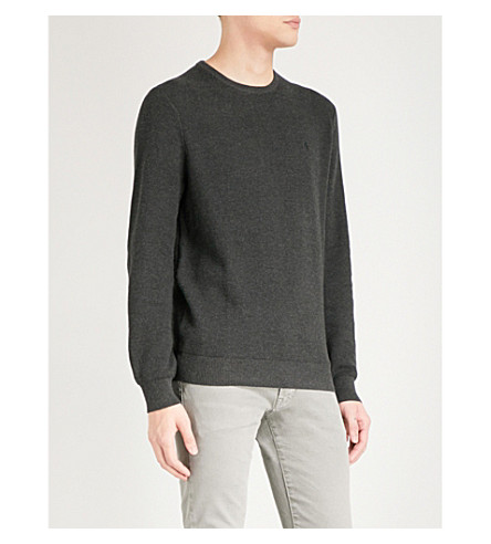 POLO RALPH LAUREN Logo-embroidered cotton jumper (Charcoal+grey+heather