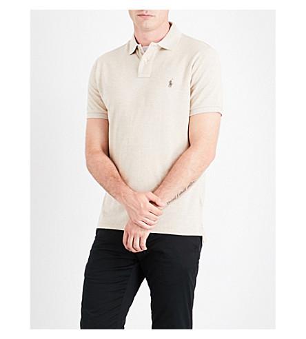 POLO RALPH LAUREN Embroidered-logo cotton-piqué polo shirt (Dune+tan+heathe