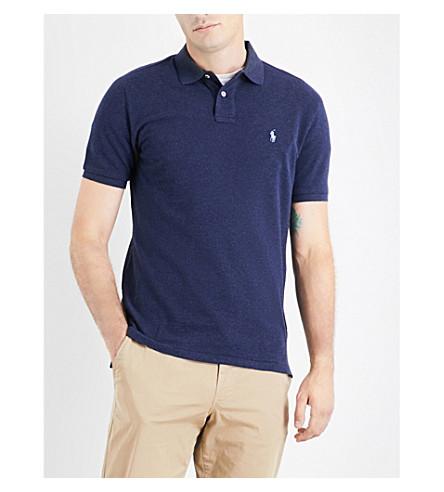 POLO RALPH LAUREN Embroidered-logo custom-fit cotton-piqué polo shirt (S.navy+ht