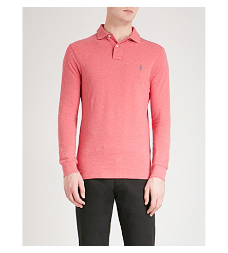 POLO RALPH LAUREN Logo-embroidered cotton-mesh polo shirt (Salmon+heather