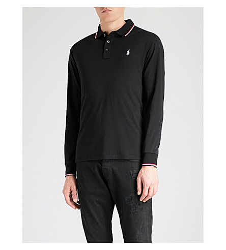 POLO RALPH LAUREN Logo-embroidered cotton-jersey polo shirt (Polo+black