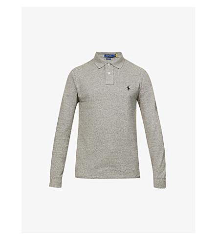 POLO RALPH LAUREN Slim-fit cotton-mesh polo shirt (Grey+hther