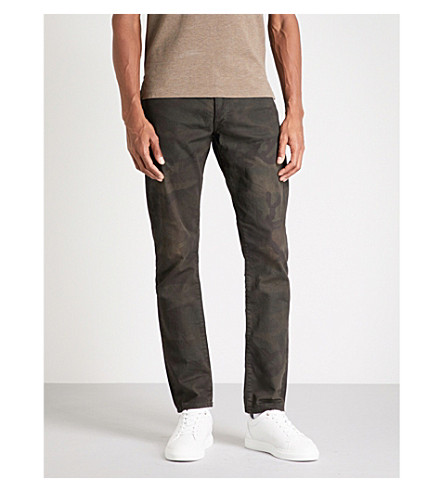 POLO RALPH LAUREN Slim-fit straight cut stretch-denim jeans (Kaplan+camo+stretch