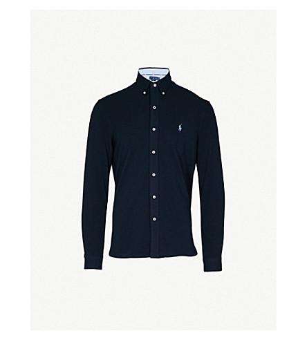 POLO RALPH LAUREN Slim-fit cotton-pique polo shirt (Aviator+navy