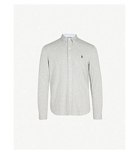 POLO RALPH LAUREN Regular-fit cotton-mesh shirt (Andover+heather