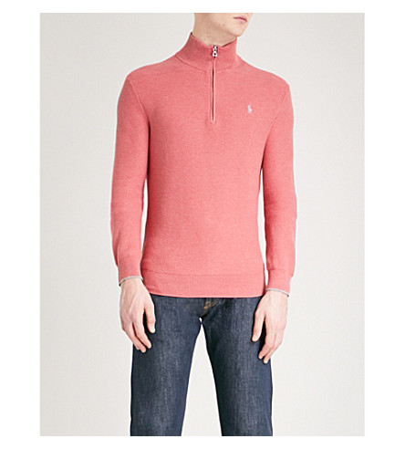 POLO RALPH LAUREN Funnel neck cotton jumper (Salmon+heather