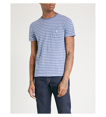 POLO RALPH LAUREN Striped cotton-jersey T-shirt (Shale+blue/austin+blue