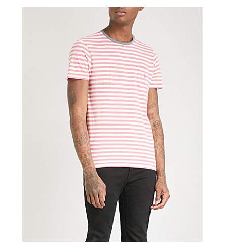 POLO RALPH LAUREN Striped cotton-jersey T-shirt (Hyannis+red/white
