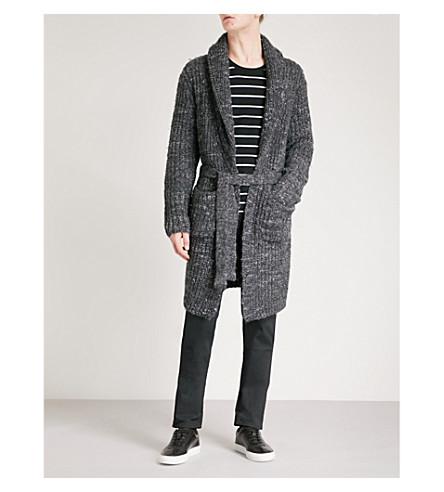 POLO RALPH LAUREN 粗线针织羊毛混纺开襟衫 (暗 + 灰 + ragg