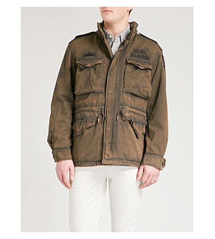 POLO RALPH LAUREN Distressed cotton-drill military jacket (Loden+grey