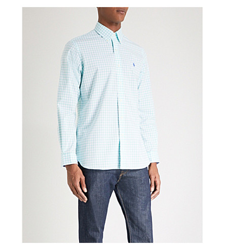 POLO RALPH LAUREN Slim fit check cotton shirt (2186b+bayside+grn/white