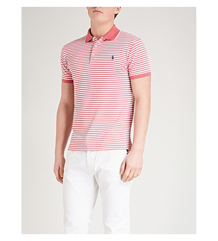 POLO RALPH LAUREN Logo-embroidered striped cotton-jersey polo top (Hyannis+red/white