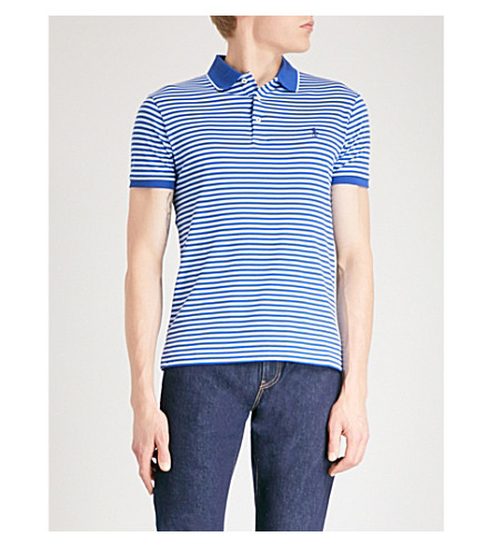 POLO RALPH LAUREN Logo-embroidered striped cotton-jersey polo top (Provincetown+blue