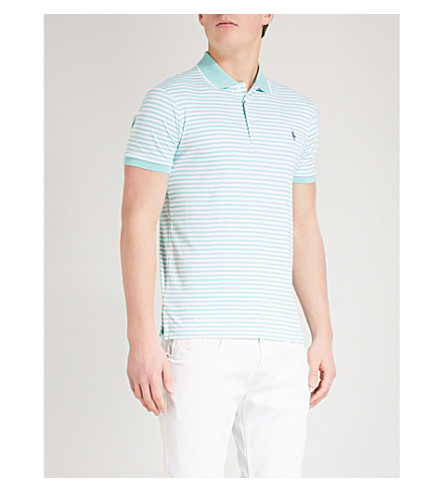 POLO RALPH LAUREN Logo-embroidered striped cotton-jersey polo top (Bayside+green/white