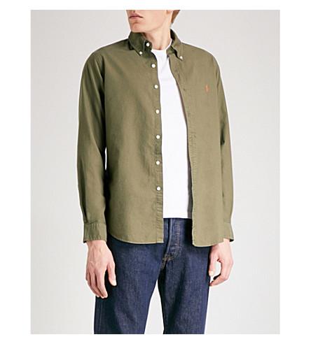 POLO RALPH LAUREN Logo-embroidered regular-fit cotton Oxford shirt (Service+green
