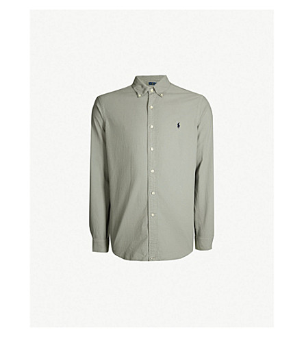 POLO RALPH LAUREN 标识刺绣经典版型棉衬衫 (完美 + 灰色