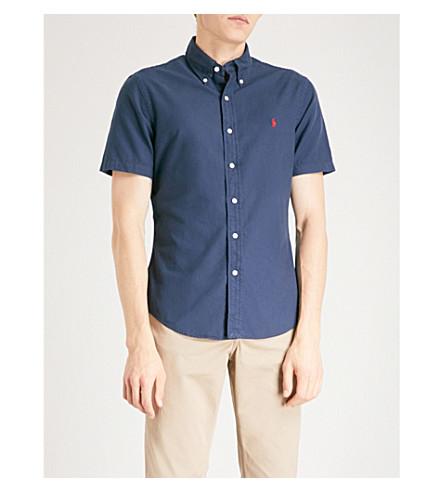 POLO RALPH LAUREN Logo-embroidered cotton Oxford shirt (Newport+navy