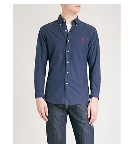 POLO RALPH LAUREN Logo-embroidered slim-fit cotton Oxford shirt (Newport+navy