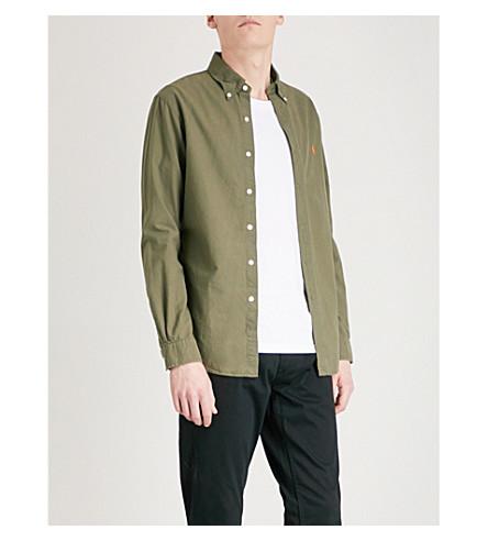 POLO RALPH LAUREN 标识刺绣修身版型棉质牛津纺衬衫 (服务 + 绿色