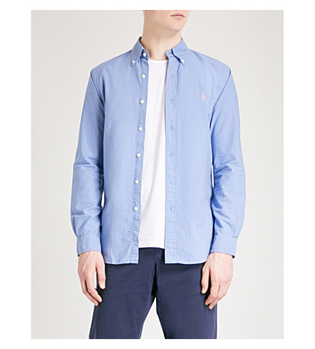 POLO RALPH LAUREN Logo-embroidered slim-fit cotton Oxford shirt (City+blue