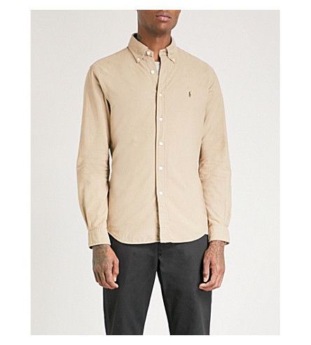 POLO RALPH LAUREN Logo-embroidered slim-fit cotton shirt (Surrey+tan