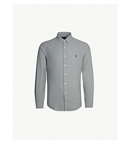 POLO RALPH LAUREN Logo-embroidered slim-fit cotton shirt (Perfect+grey