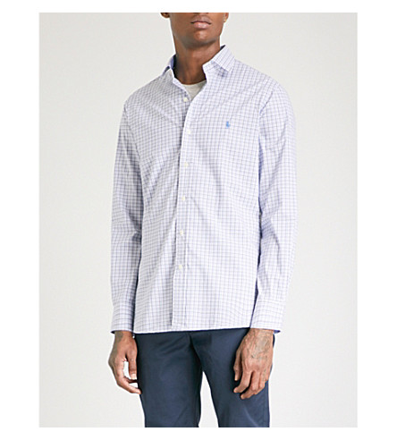 POLO RALPH LAUREN Checked slim-fit cotton shirt (2162a+grey/navy