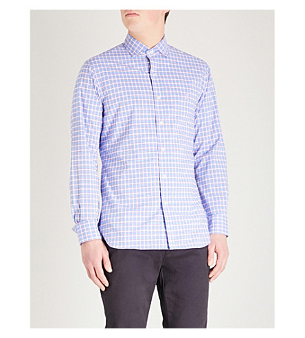 POLO RALPH LAUREN Checked slim-fit cotton-poplin shirt (Powder+blue/petal