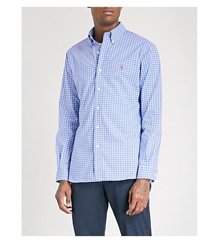 POLO RALPH LAUREN Checked slim-fit cotton-poplin shirt (Cornflower/hibiscus