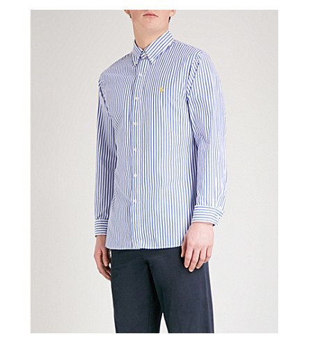 POLO RALPH LAUREN 条纹修身棉衬衫 (2185 个 + 坦率 + 蓝色/白色