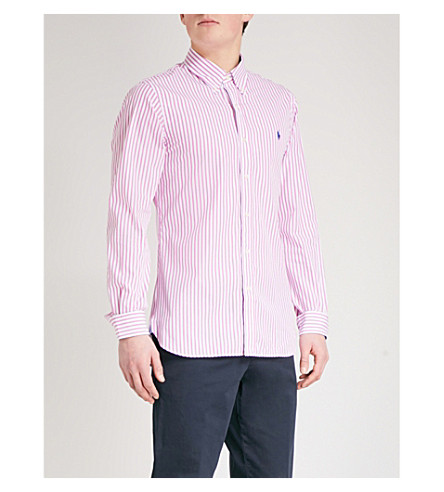 POLO RALPH LAUREN Striped slim-fit cotton shirt (2185b+rose+pink/white