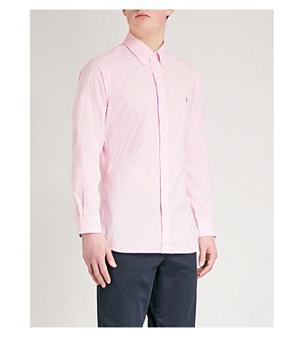 POLO RALPH LAUREN 徽标-绣花修身棉衬衫 (卡梅尔 + 粉红色