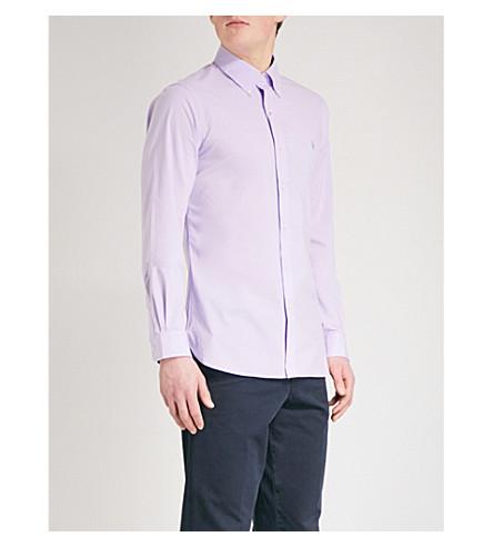 POLO RALPH LAUREN Logo-embroidered slim-fit cotton shirt (Powder+purple