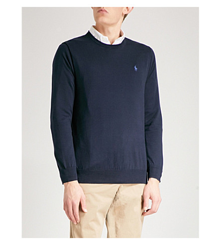 POLO RALPH LAUREN Logo-embroidered slim-fit knitted jumper (Hunter+navy