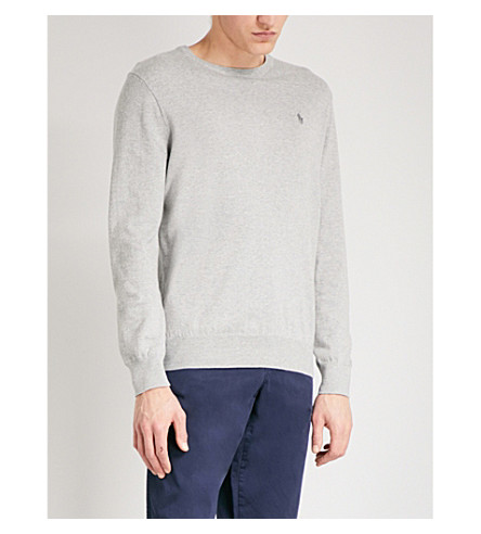 POLO RALPH LAUREN Logo-embroidered slim-fit knitted jumper (Andover+heather