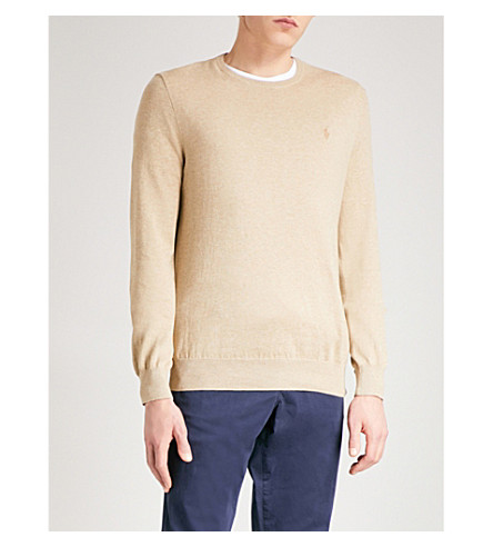 POLO RALPH LAUREN Logo-embroidered slim-fit knitted jumper (Expedition+dune+heather