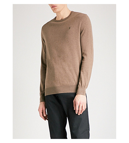 POLO RALPH LAUREN Logo-embroidered slim-fit knitted jumper (Cedar+heather