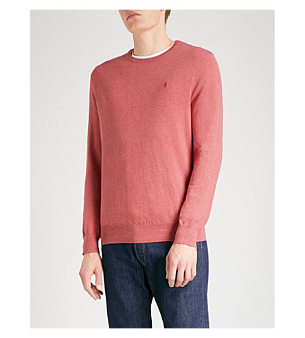 POLO RALPH LAUREN Logo-embroidered slim-fit knitted jumper (Sun+red+heather