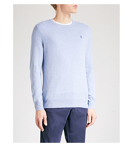 POLO RALPH LAUREN Logo-embroidered slim-fit knitted jumper (New+age+blue+heather
