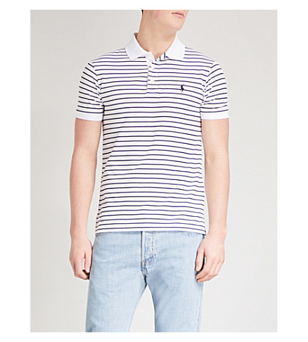 POLO RALPH LAUREN Slim-fit cotton-pique polo shirt (White/polo+black