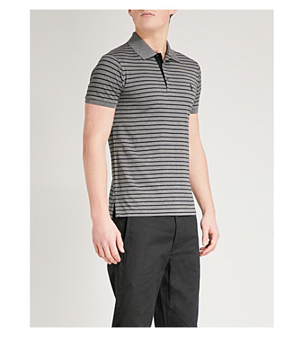 POLO RALPH LAUREN Slim-fit striped cotton-piqué polo shirt (Grey+heather/polo+black