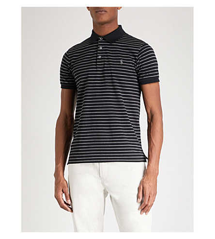POLO RALPH LAUREN Slim-fit striped cotton polo shirt (Polo+black/grey+heather