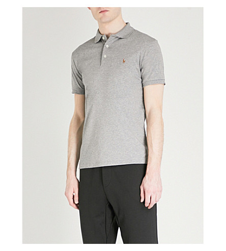 POLO RALPH LAUREN Pima Soft Touch cotton polo shirt (Steel+heather